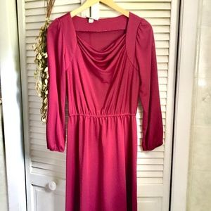 {Vintage} Long Sleeve Fuchsia Cowl Neck Dress, M